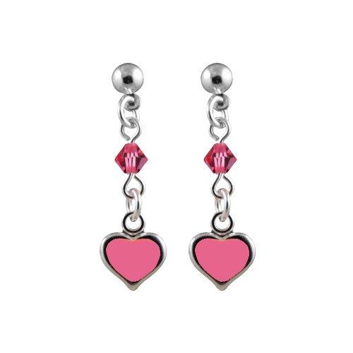 So Chic Bijoux © Boucles d'oreilles Pendant Enfant Coeur Rose Perle Argent 925