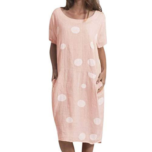 BODOAO Women Polka Dot t Shirt Loose Dresses Round Neck Pocket Casual Loose Dress ()