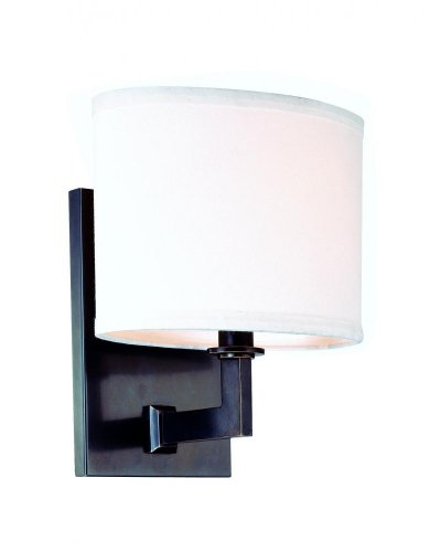 Grayson 1-Light Wall Sconce - Satin Nickel Finish with Off White Faux Silk Shade (Satin Nickel Flat Wall Lamp)
