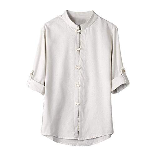 Uni Lin Et 3 Button Chic Printemps Homme Manche Chemise Loisir Chemise Oversize Casual Chemise Costume Blanc 4 Shirts Vintage Bouffant Manches Tops wg0I70q