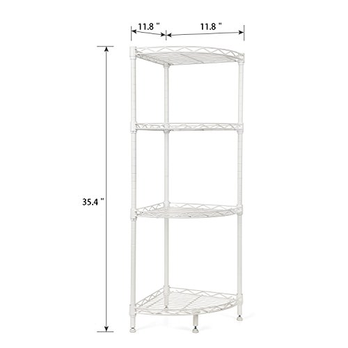 Homfa 4 Tire Wire Corner Storage Shelves Free Standing Bathroom Corner Shelf Corner Rack Display