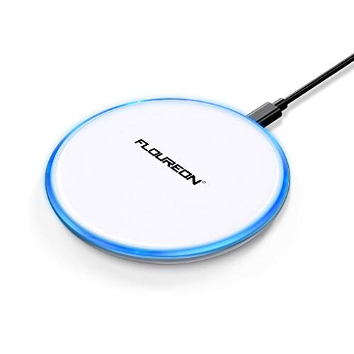 Wireless Charger Fast Charger,FLOUREON Qi-Certified Ultra-Slim Fast Charge Wireless Charger Pad 10W 7.5W 5W Output Compatible with Phone Xs MAX/XR/XS/X/8/8 Plus Samsung Galaxy Note 9/S9/S8 etc -White