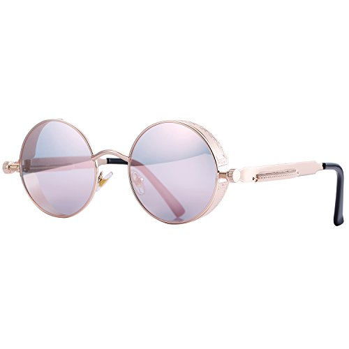 Pro Acme Gothic Steampunk Sunglasses for Men Women Metal Frame Round Lens Pink Mirrored Lens