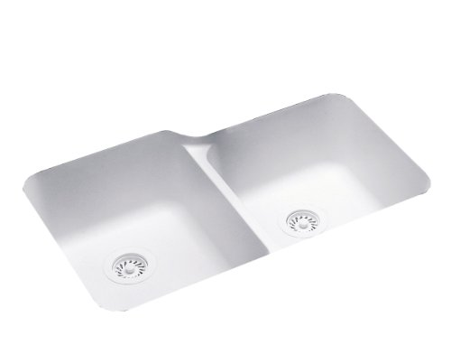 Swanstone US-3015-010 33-Inch by 21-1/4-Inch Double Bowl Undermount Kitchen Sink, White Finish