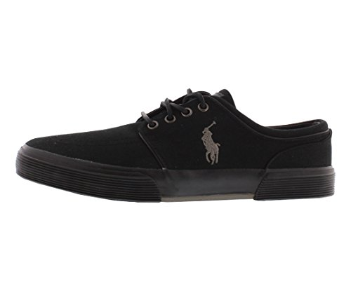 Polo Ralph Lauren Men's Faxon Low Canvas Sneaker Black/Gray 7.5