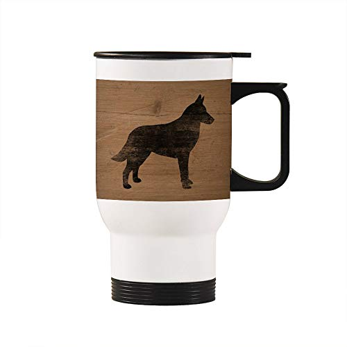 Funny Birthday Christmas Gift Cup Belgian Malinois Silhouette(S) Stainless Steel Travel Mugs - 14oz, White