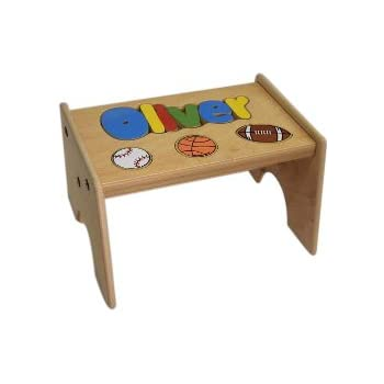 Stupendous Amazon Com Babykidsbargains Personalized Wooden Puzzle Onthecornerstone Fun Painted Chair Ideas Images Onthecornerstoneorg