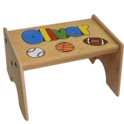 Puzzle Stool Primary (Personalized Sports Wooden Puzzle Stool- Stool Color: Natural, Letter Color: Primary, 9-12 Letters)