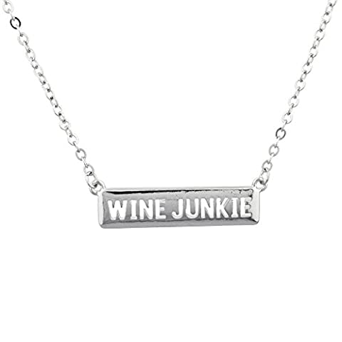 Lux Accessories Silvertone Wine Junkie Drink 101 Verbiage Name Plate Necklace