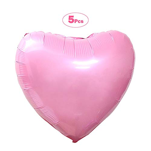 5 Pcs 36 Inch Huge Red Heart Balloons, Romantic Large Heart Foil Balloons for Wedding Party Decorations(Pink) ()