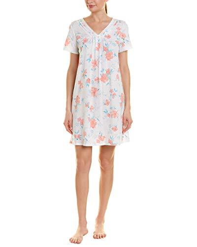 Carole Hochman Women's Short Nightgown, Coral Watercolor Floral, XL Carole Hochman Cotton Nightgown