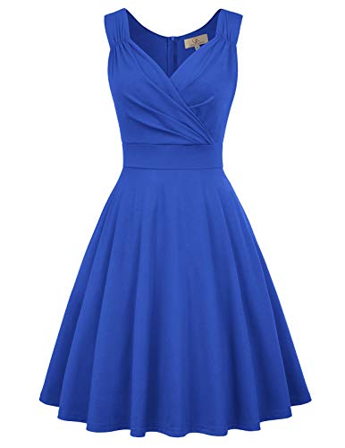 GRACE KARIN Women's 60s Retro V-Neck Coctail Party Dress Size 3XL Blue CL698-6 -