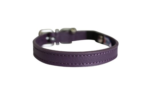 Leather Breakaway Cat Collar - Angel Pet Supplies Alpine Elastic Break-Away Leather Cat Collar, 12 by 1/2-Inch, Orchid Purple