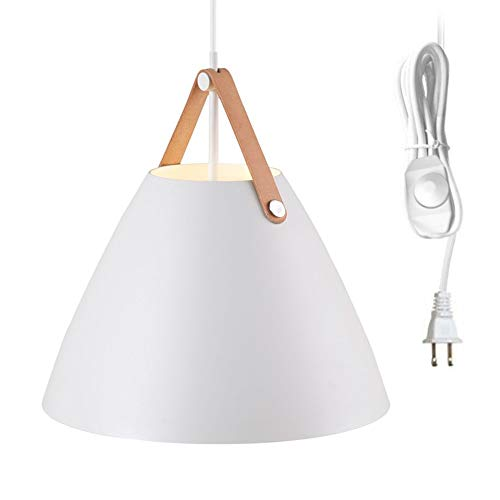 Kiven Dimmable White Cone Pendant Light 1-Light Plug-in Pendant,15 Foot Dimmer in-Line On/Off Switch,10.63'',White ()