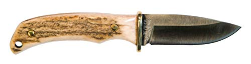 Uncle Henry 2202UH 6.25in D2 High Carbon Steel Full Tang Fixed Blade Knife with 2.75in Drop Point and Stag Horn Handle for Outdoor, Hunting and Camping