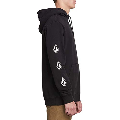 Volcom Men's Deadly Stone Pullover Hooded Fleece Sweatshirt, Washed Black, - Volcom Black Hoodie