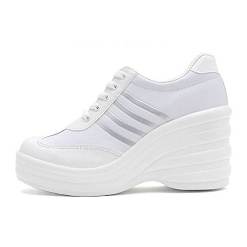 EpicStep Women's White Cheerleaders Shoes High Heels Lace up Casual Platform Fashion Sneakers 7 M US