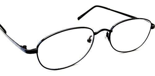 (3 PACK + BONUS) Magnivision +1.75 TITANIUM (T4) Black Oval Metal Wire Rim Reading Glasses + 1 FREE BONUS TRAVEL GLASS POUCH & 1 MICRO-SUEDE CLEANING CLOTH