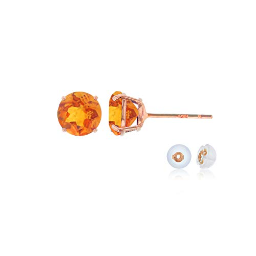 Genuine 10K Solid Rose Gold 4mm Round Natural Madeira Citrine November Birthstone Stud Earrings