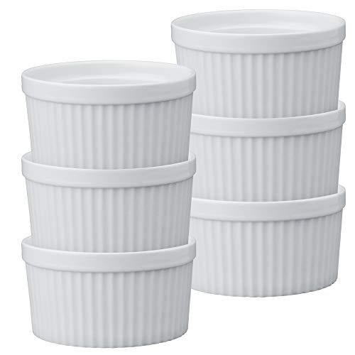 HIC Souffles, Porcelain, 4.5-Inch, 14-Ounce Capacity, Set of 6 (16 Oz Baking Dish)