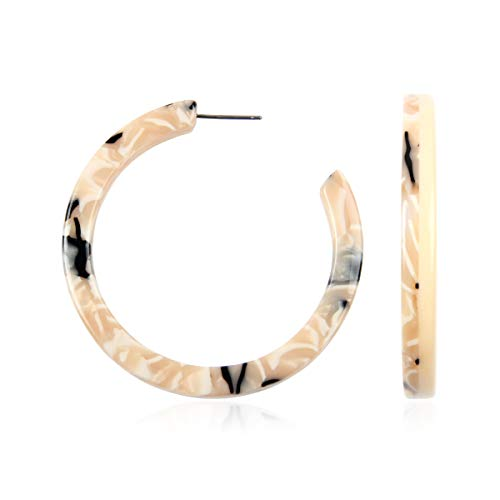 Ivory Oval Shell - Lightweight Multi Color Acetate Hoop Earrings - Mottled Resin Geometric Statement Leopard Round Circle/Animal Disc Threader/Tortoise Leaf/Marbled (Hoop Two-tone - Ivory, 2)