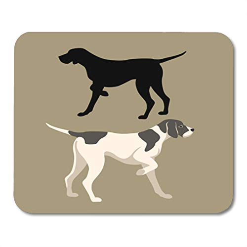 (Semtomn Gaming Mouse Pad English Pointer Dog Flat Silhouette German Hound Animal Black 9.5