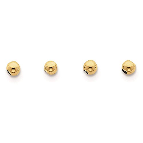 Yellow Gold Spacers (10k Yellow Gold 4mm Spacer Beads Set Of 4)