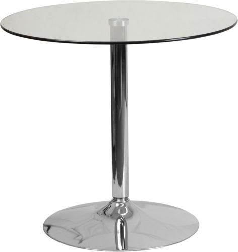31.5'' Contemporary Round Restaurant Glass Table with Chrome Base - Outdoor Cafe Table (Glass Cafe Table)