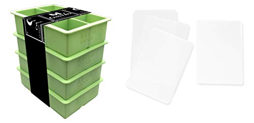 Silicone Ice Cube Trays by M.Gastro, SAVE WITH OUR ECONOMY 4 PACK, Extra Large Ice Cubes, Space Saving Design, 6 Cavity (Green with 4 Lids)