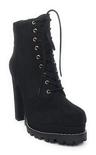 Liliana Monclair-1 Black Lug Sole Lace Up Chunky Heel Platform Combat Booties (11)