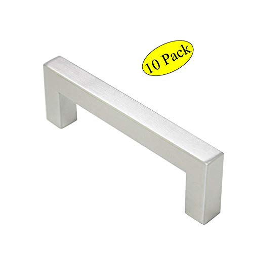 Brushed Satin Nickel Pulls 2.5 Inch Stainless Steel Square Pulls for Kitchen Drawers Furniture Handles with Hole Distance 2-1/2IN(64mm),Dresser Hardware Pulls 10 Pack,CL-355BSN64 ()