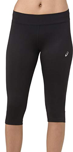 ASICS Silver Womens 3/4 Capri Running Tights - Black-XS