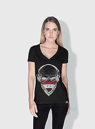 Creo Syria Skull T-Shirts For Women - S, Black