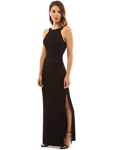 PattyBoutik Women's Crewneck Halter Side Slit Maxi Dress (Black M)