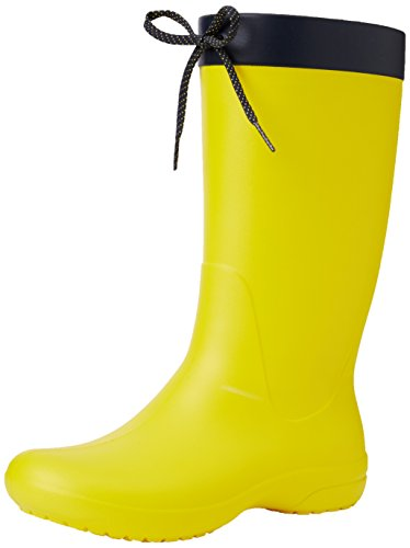 Crocs Women's Freesail Rain Boot, Lemon, 9 M US by Crocs