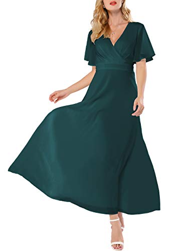 (Azalosie Women Wrap Maxi Dress Short Sleeve Empire Waist Flowy Dress Wedding Formal Party Prom Evening Gown Long Dress)