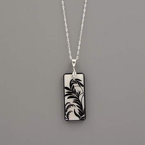 Mother of Pearl Black Leaf Rectangle Pendant Necklace - Silver Delicate Oval Cable Chain - Flat Pendant Tag Link
