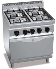 Berto S – Cocina a Gas, 4 Fuegos con Horno a Gas 1/1, Eco ...