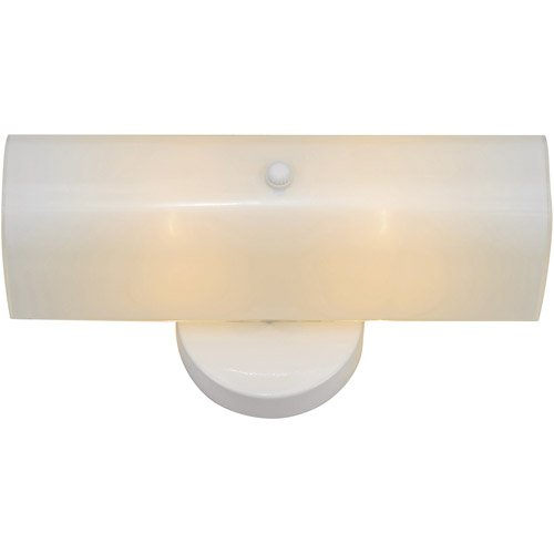 Bel Air Lighting 2-Light White Bath 15 in. Vanity Light with Channel Glass