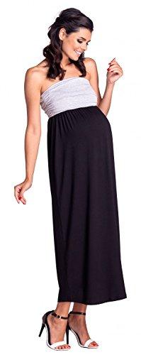 Zeta Ville - Premamá Vestido largo bandeau cintura del imperio - mujer - 268c Negro y gris