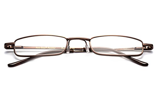 Newbee Fashion - Pocket Readers Ultra Compact Spring Temple Reading Glasses w/ Portable Pocket Clip Aluminum Case Brown