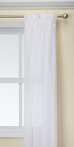 LA Linen Pack-1 Sheer Voile Drape Panel 10-Feet Wide by 120-Inch High, ()