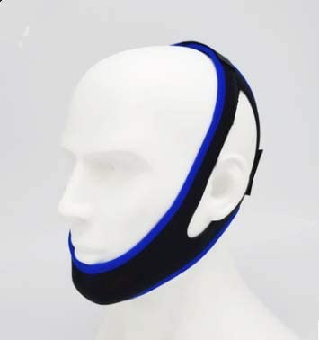 Anti-Snoring and Anti-Snoring Tape,Snoring Chin Strap,Snore Solution Reduction Sleep Aids.Adjustable Chin Support Headband (Black+Blue Edging)