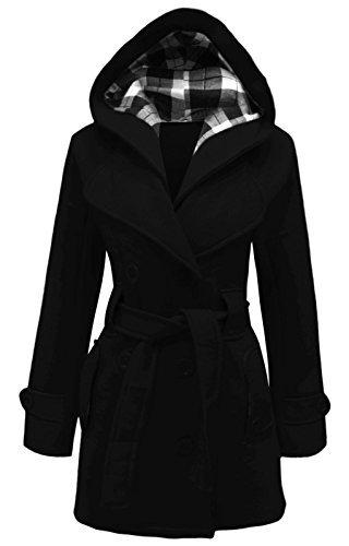 cexi FEMMES Noir double ceinture hiver veste boutonnage COUTURE polaire capuche femmes avec manteau ra15qrBx