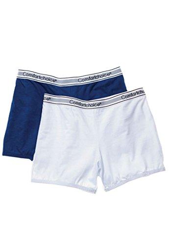 Comfort Choice Women's Plus Size 2-Pack Stretch Knit Boyshorts Blue Pack,11