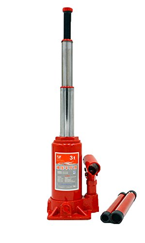 BAOSHISHAN 3 Ton Double Ram Bottle Jack 6 1/2in.-16 1/2in. Lift Range Portable Hydraulic Jack with Carrying Case 5.1lb