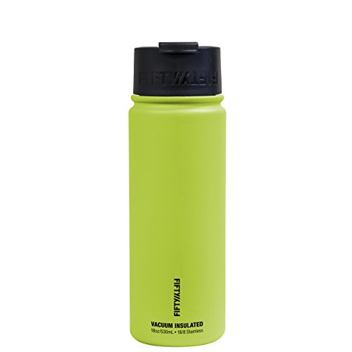 Fifty/Fifty 18oz, Double Wall Vacuum Insulated Café Water Bottle, Stainless Steel, Flip Cap w/ Wide Mouth, Lime Green, 18oz/530ml