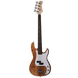 Lykos Fashion White Full Size 4-String Electric Bass Guitar Burning Fire Style (Burly Wood)