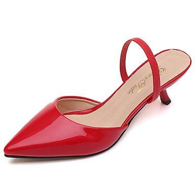 LvYuan Mujer Zapatillas y flip-flop Confort Suelas con luz PU Verano Casual Vestido Confort Suelas con luz Tacón Kitten Rojo RosaMenos de 2'5 ruby