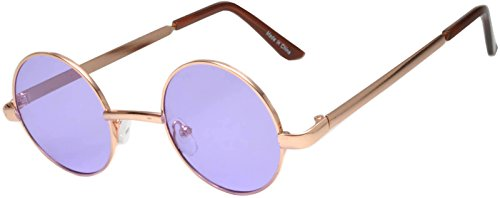 Round Retro Vintage Circle Style Tint Sunglasses Metal Colored Frame Colored Lens OWL Brand (Round_43mm_gld_purple_grd, PC - Circle Glasses Colored